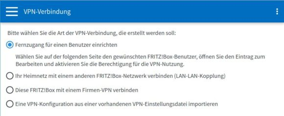 Du hast diese Optionen, um Dein FRITZ!Box VPN einzurichten