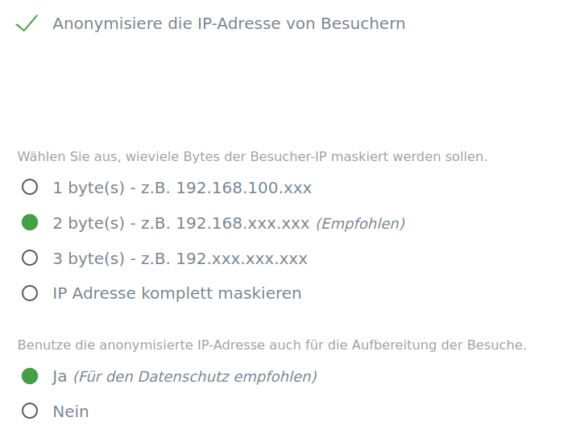 Auch bei Matomo 4 werden meine Besucherstatistiken anonymisiert