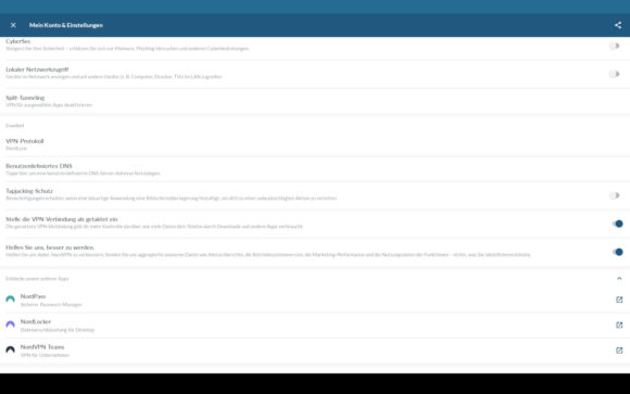 NordVPN bietet unter anderem CyberSec – das ist der integrierte Adblocker