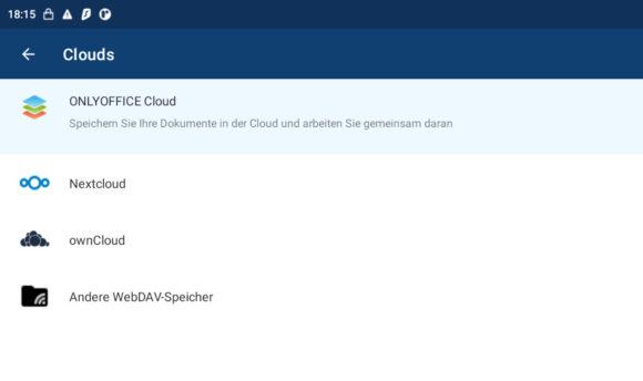 ONLYOFFICE läuft, will aber auch Cloud-Speicher