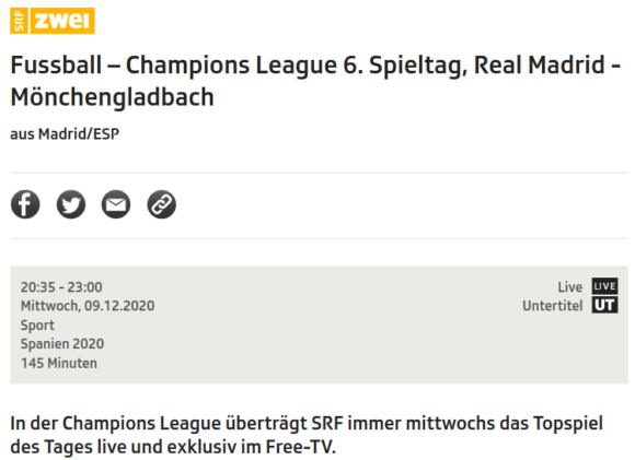 Real Madrid gegen Borussia Mönchengladbach – live und kostenlos im Free-TV