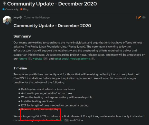 Erste Version von Rocky Linux voraussichtlich im Q2 2021