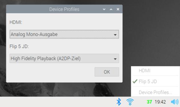 Mit PulseAudio gibt es auch Geräteprofile