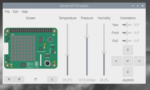 Auf dem Raspberry Pi 400 mit dem Sense-HAT-Emulatorexperimentieren