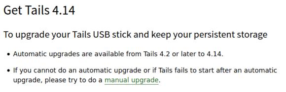 Upgrade auf Tails 4.14 möglich