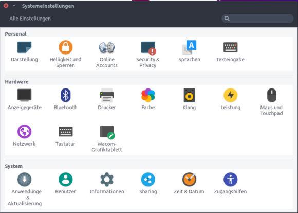 Systemeinstellungen bei Ubuntu Unity für Raspberry Pi