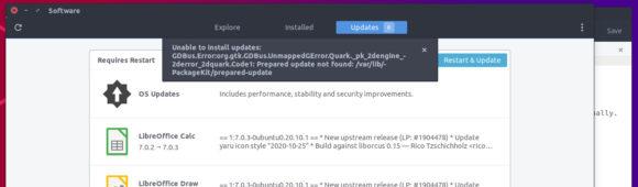 Ein Update via GUI war nicht möglich