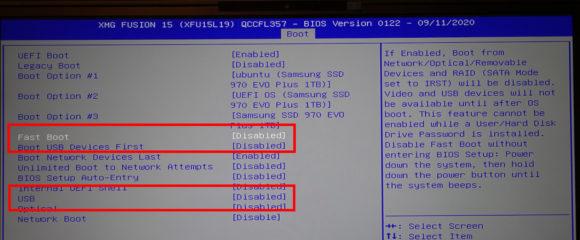 Fast Boot und USB anpassen, damit Du ein anderes OS installieren kannst