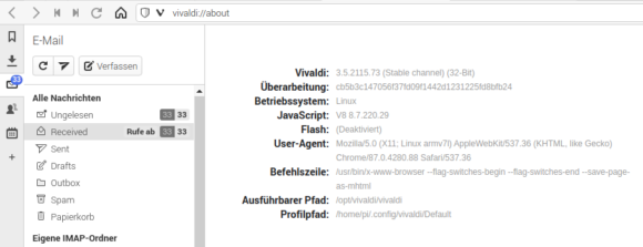 E-Mails mit Vivaldi 3.5 abrufen und lesen
