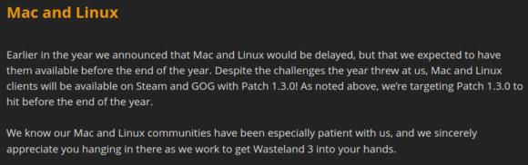 Wasteland 3 für Linux und Mac soll noch vor Jahresende 2020 ausgeliefert werden