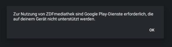 Die ZDF-Mediathek benötigt die Google-Play-Dienste