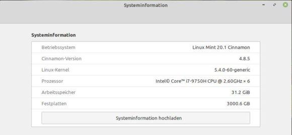 Das Upgrade auf Linux Mint 20.1 ist abgeschlossen
