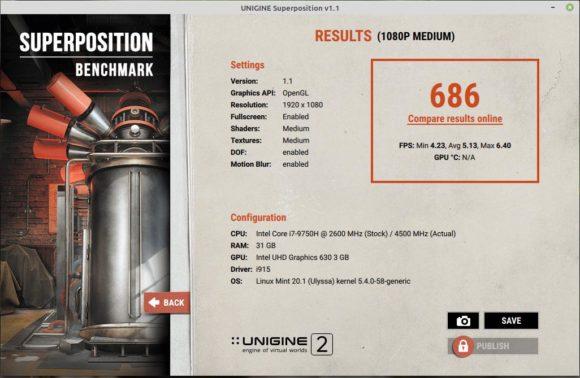Benchmark Superposition mit Intel-GPU