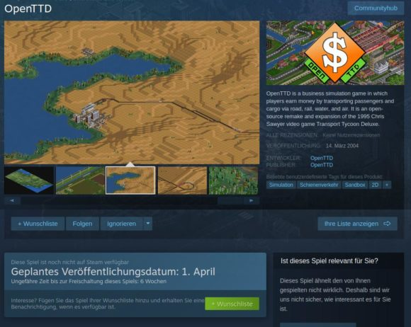 openTTD wird bald via Steam erhältlich sein