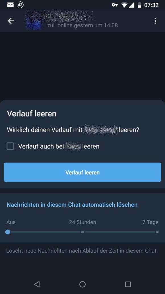 Nachrichten automatisch bei Telegram löschen