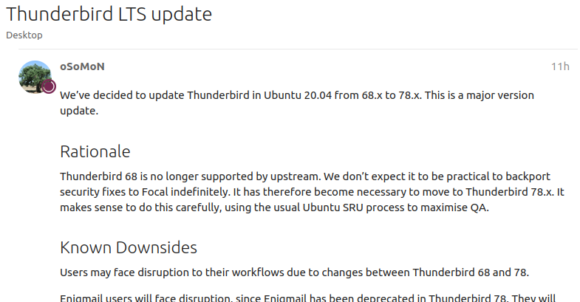 Ubuntu 20.04 LTS wird Thunderbird 78 bekommen