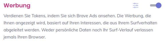 Werbung bei Brave aktivieren