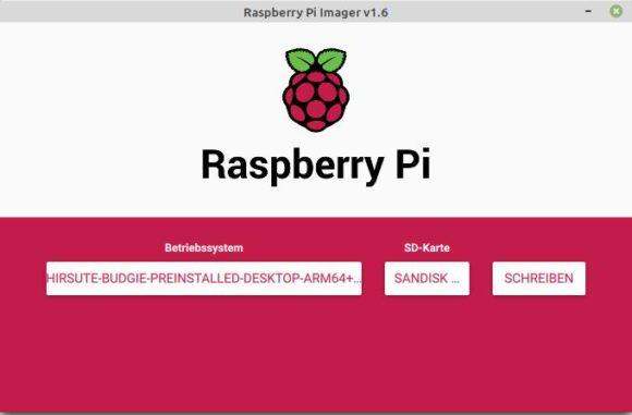 Ubuntu Budgie 21.04 für Raspberry Pi auf microSD-Karte schreiben