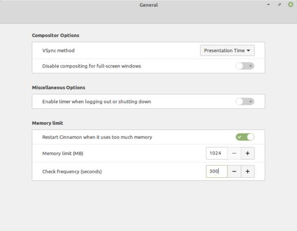 Bei Cinnamon 5.0 kannst Du ein maximales RAM festlegen (Quelle: linuxmint.com)