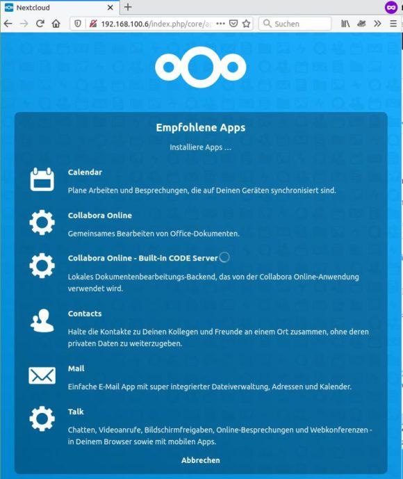 Die empfohlenen Apps werden installiert – auch Collabora Online für Raspberry Pi