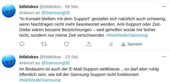 Antwort an Samsung – langsam sichtlich genervt …