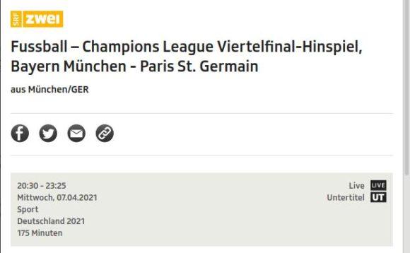 Bayern - PSG Live Stream kostenlos