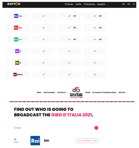 So kannst Du Giro d'Italia live kostenlos streamen – Zattoo Schweiz und RAI