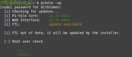 Pi-hole FTL wird aktualisiert