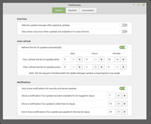 Update-Benachrichtigungen konfigurieren (Quelle: linuxmint.com)