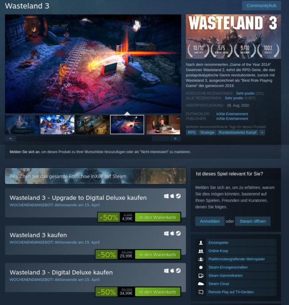 Wasteland 3 um 50 % reduziert