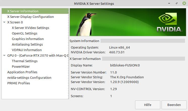Bei mir ist noch NVIDIA 460.73.01 installiert
