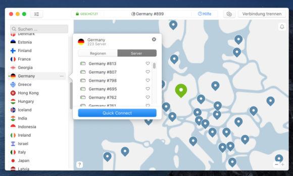 NordVPN mit Deutschland verbunden – macOS
