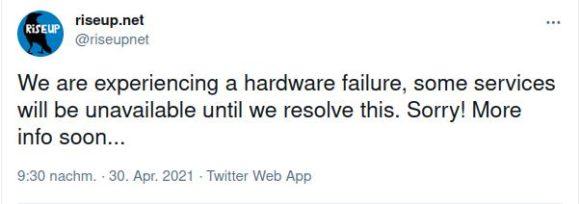 riseup.net vom gleichen Hardware-Ausfall wie Tails betroffen