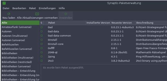 Paketverwaltung via Synaptic