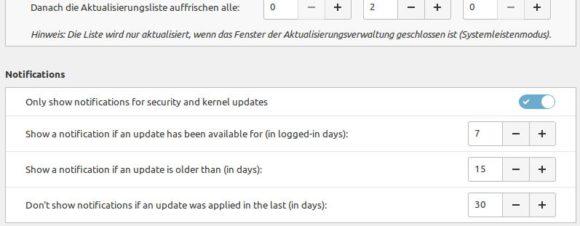 Wie oft soll Dich Linux Mint 20.2 in Sachen Updates erinnern?