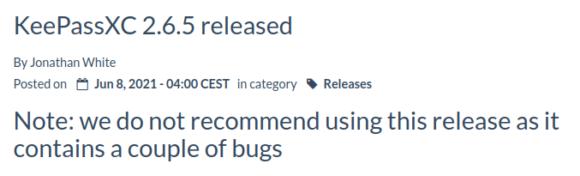 Benutze das nicht – lieber KeePassXC 2.6.6!