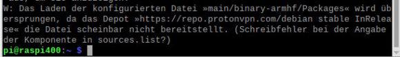 Das GUI von ProtonVPN lässt sich nicht unter Raspberry Pi OS auf einem Raspberry Pi installieren