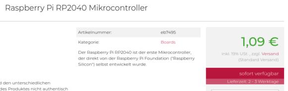 RP2040 in Deutschland für 1,09 €