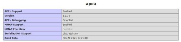 APCU ist aktiviert