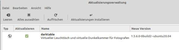 Darktable 3.6.0 über die Aktualisierungsverwaltung