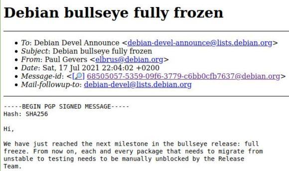 Debian 11 Bullseye – Full Freeze
