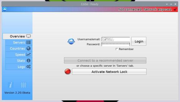 Nach der Installation von Eddie auf dem Raspberry Pi darfst Du Dich bei AirVPN anmelden