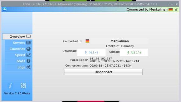 Eddie mit VPN-Server in Deutschland verbunden