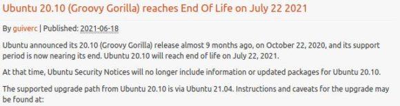 Die Unterstützung für Ubuntu 20.10 Groovy Gorilla endet heute