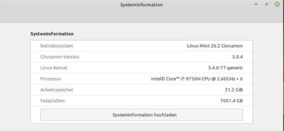 Linux Mint 20.2 Uma mit Cinnamon 5 läuft