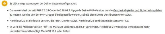 Nextcloud 21 nicht mehr zu PHP 7.2 kompatibel