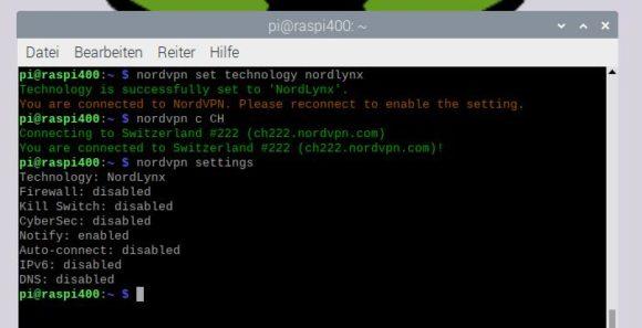 Mein Raspberry Pi VPN auf NordLynx / WireGuard umgestellt und mit der Schweiz verbunden