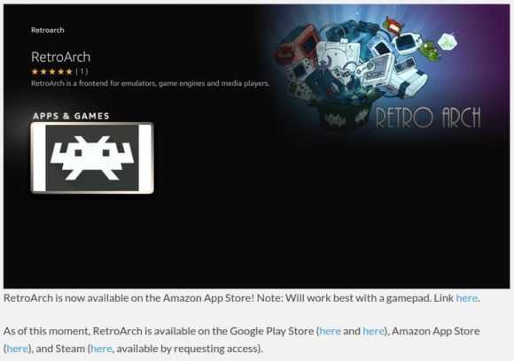 RetroArch via Amazon App Store installierbar