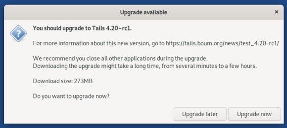 Tails 4.10 RC1 – es darf aktualisiert werden