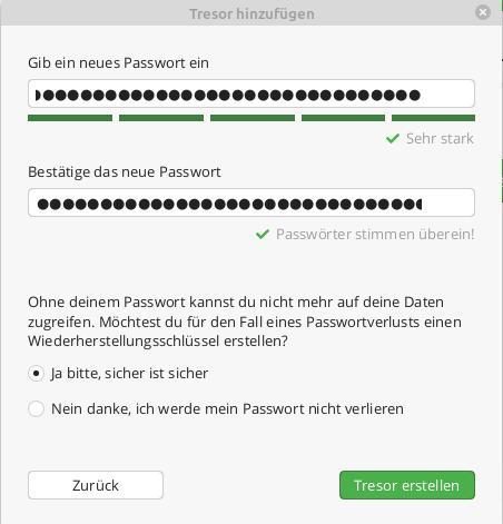 Cryptomator – Passwort und WIederherstellungsschlüssel